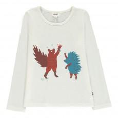 T-Shirt Ecureuil Hérisson Coton Pima Bio Blanc