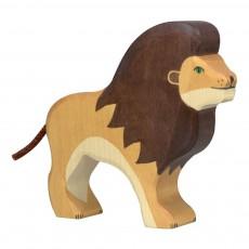 Figurine en bois lion Jaune