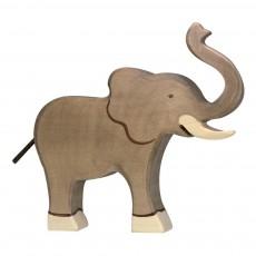 Figurine en bois grand élephant Gris