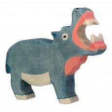 Figurine en bois hippopotame Gris