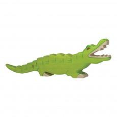 Figurine en bois crocodile Vert