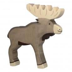 Figurine en bois renne Gris