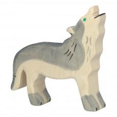 Figurine en bois loup Gris