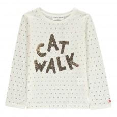 "T-shirt ""Cat Walk"" Sequins Ecru"
