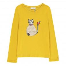 T-shirt Chat Fourrure Jaune