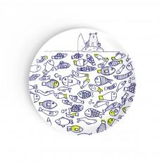 Assiette à dessert Les poissons jumeaux Bleu