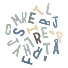 Set de lettres magnétiques en bois garçon Bleu