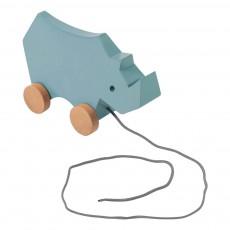 Rhino en bois à tirer Bleu