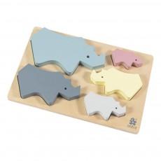 Puzzle en bois rhino Multicolore