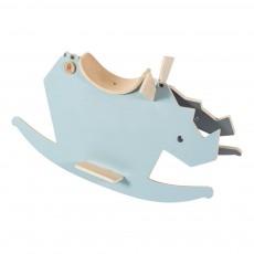 Rhino à bascule en bois Bleu
