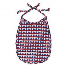 Bavoir en coton doublé éponge Triangles - Rouge et bleu