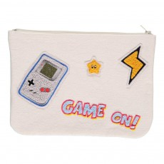 Pochette Tissus Patchs Video Game Blanc