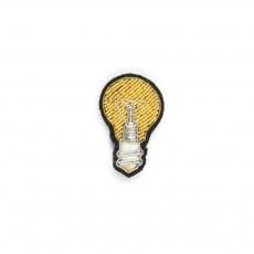 Broche Brodée en Coton Ampoule Doré