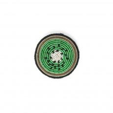Broche Brodée en Coton Kiwi Vert