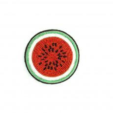Broche Brodée en Coton Pastèque Rouge