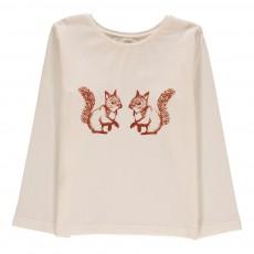 T-Shirt Coton Bio Ecureuils Bébé Ecru