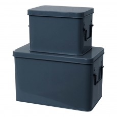 Boîtes de rangement métal - Set de 2 Bleu