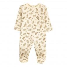 Pyjama Pieds Coton Bio Feuilles Ecru