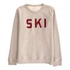 """Sweat """"Ski"""" Bouclé Gris chiné clair"""