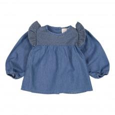 Blouse Chambray Broderies Louane Bleu jean