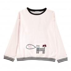 T-shirt Oversize Chat Brodé Rose pâle