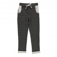 Pantalon Bi-matières Rayé Vice-Versa Noir