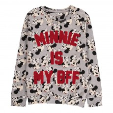 Sweat Minnie Brodé Minall Gris chiné