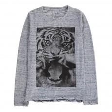 T-Shirt Tigre Moustache Anim Bleu chiné