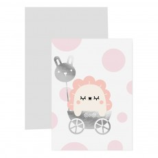 Carte avec marque page Baby girl Rose