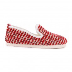 Chaussons Fourrés Tweed Bras Winter Rouge