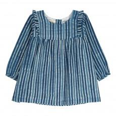 Robe Volants Rayée Coralie Bleu