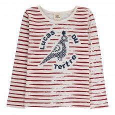 T-Shirt Rayé Oiseau Alex Rouge