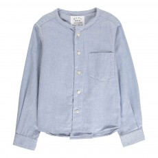Chemise Coton Sans Col Bleu pâle