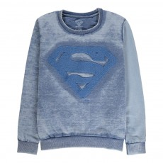 Sweat Dévoré Brodé Superman Sup Bleu