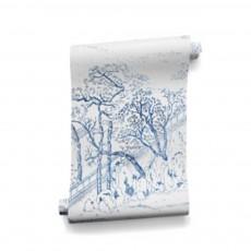 Papier-peint Coromandel 340x280 cm - 4 lés Bleu indigo