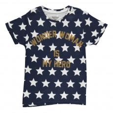 T-Shirt Oversize Etoiles Wonder Woman Is My Hero Famwond Bleu marine