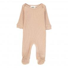 Pyjama à Pieds Nid D'Abeille Bobo Rose pâle