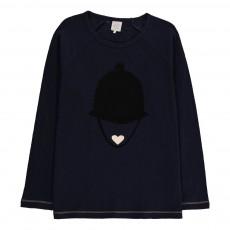 T-Shirt Visage Chapeau Ticky Bleu marine