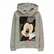 Sweat Capuche Zippé Mickey Moustache Mikash Gris chiné
