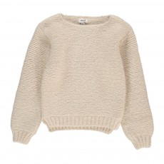 Pull Baby Alpaga Point Mousse Blanc