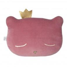 Coussin chat avec couronne 28x20 cm Vieux Rose
