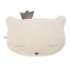 Coussin chat avec couronne 28x20 cm Ivoire