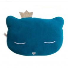 Coussin chat avec couronne 28x20 cm Bleu pétrole