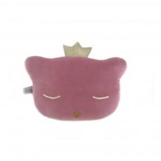Mini coussin chat hochet 24x16 cm Vieux Rose