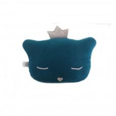 Mini coussin chat hochet 24x16 cm Bleu pétrole