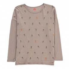 T-Shirt Plumes Gris chiné