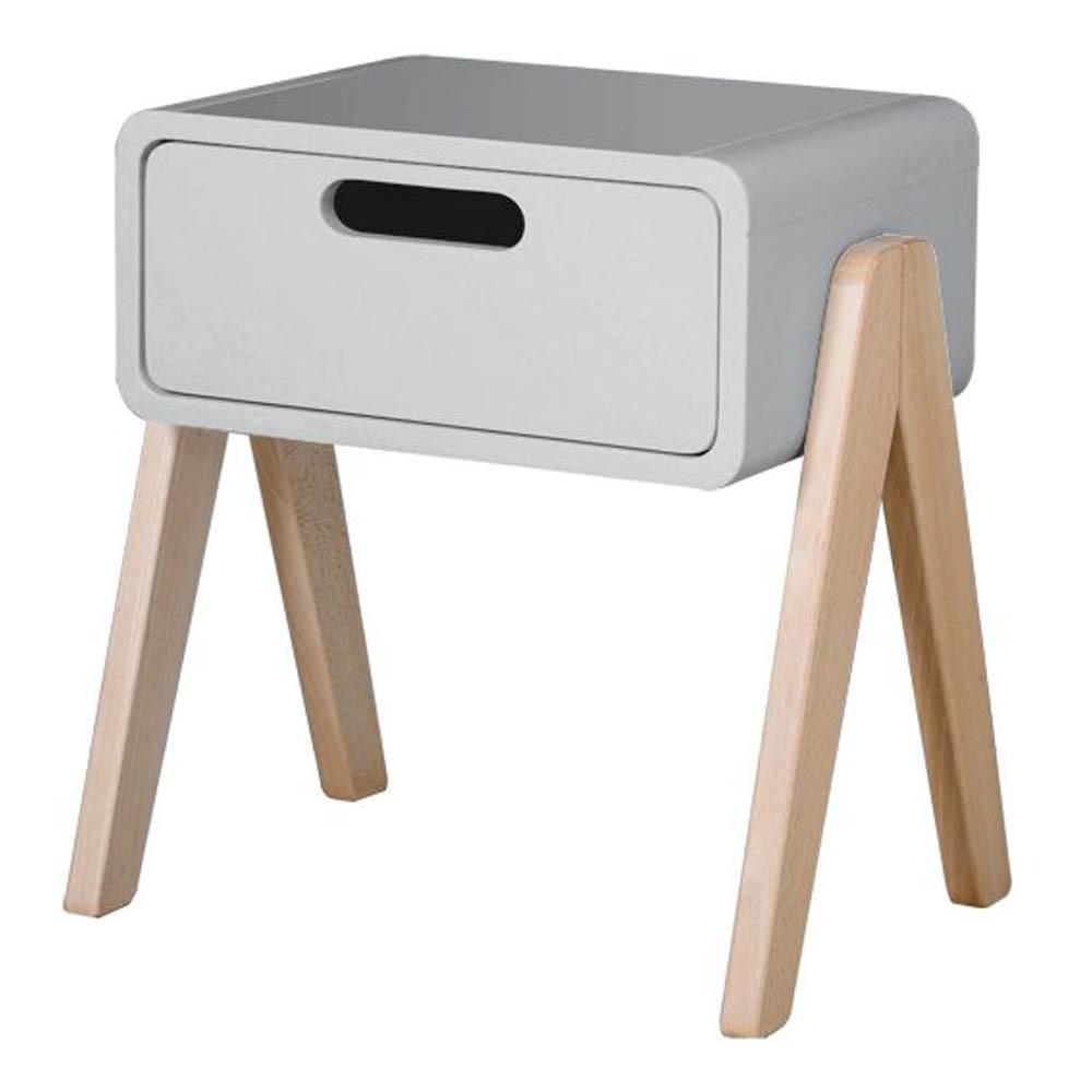Table de chevet petit robot pieds bois naturel gris clair for Table de chevet bois clair