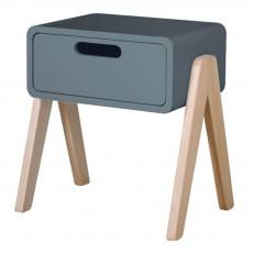 Table de chevet Petit Robot pieds bois naturel Gris foncé