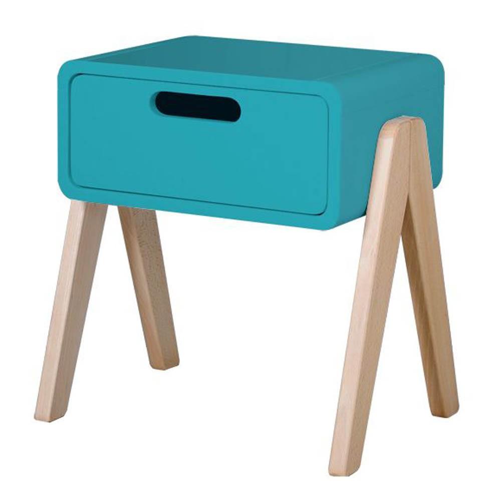 Table de chevet petit robot pieds bois naturel bleu - Table de chevet bleu ...