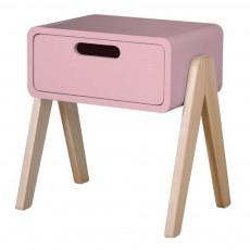 Table de chevet Petit Robot pieds bois naturel Vieux Rose